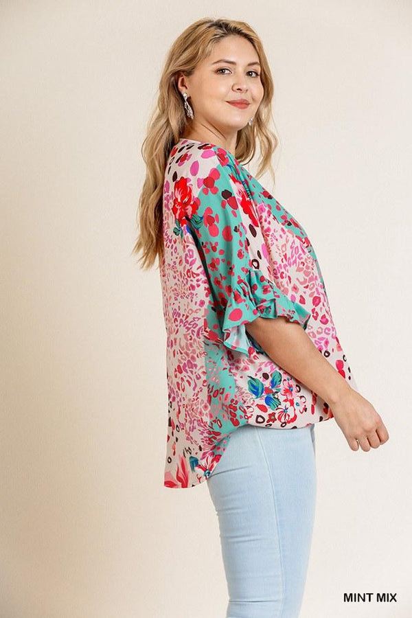 Floral Animal Mixed Print Ruffle Sleeve V-neck Crossbody Top With Scoop Hem - CYFASHION