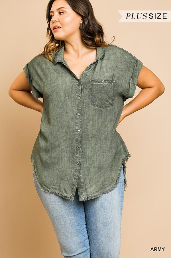 Washed Button Up Short Sleeve Top With Frayed Hemline - CYFASHION