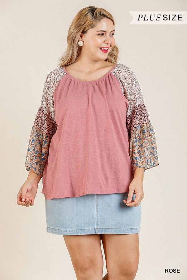 Sheer Mixed Floral Print Bell Sleeve Round Neck Top - CYFASHION