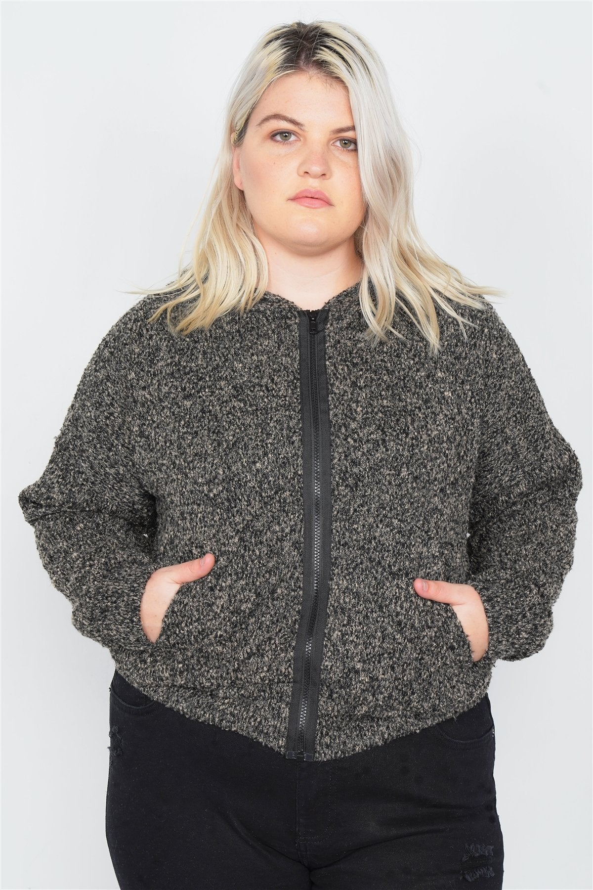 Plus Size Heather Charcoal Athletic Full Zip Hoodie Sweater - CYFASHION