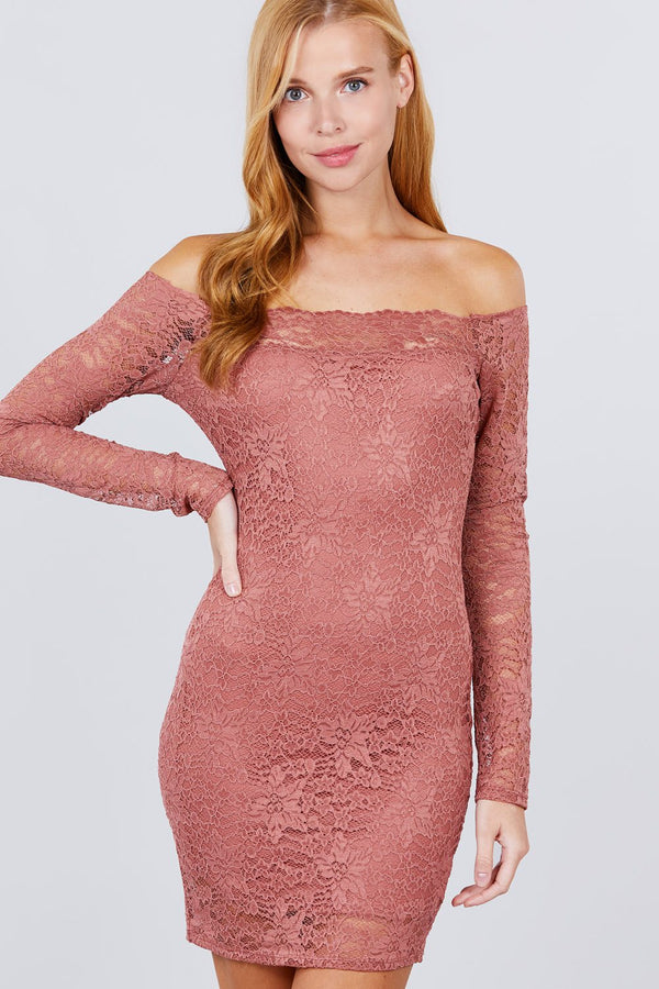 Long Sleeve Scallop Off Shoulder Lace Mini Dress - CYFASHION