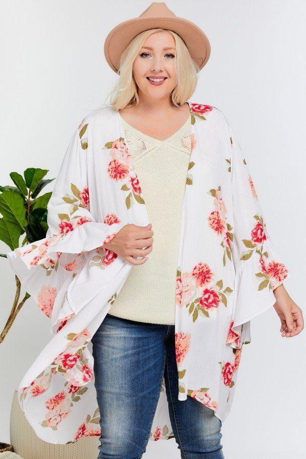 Floral Print Ruffle Detailed Draped Longline Maxi Kimono Cardigan - CYFASHION