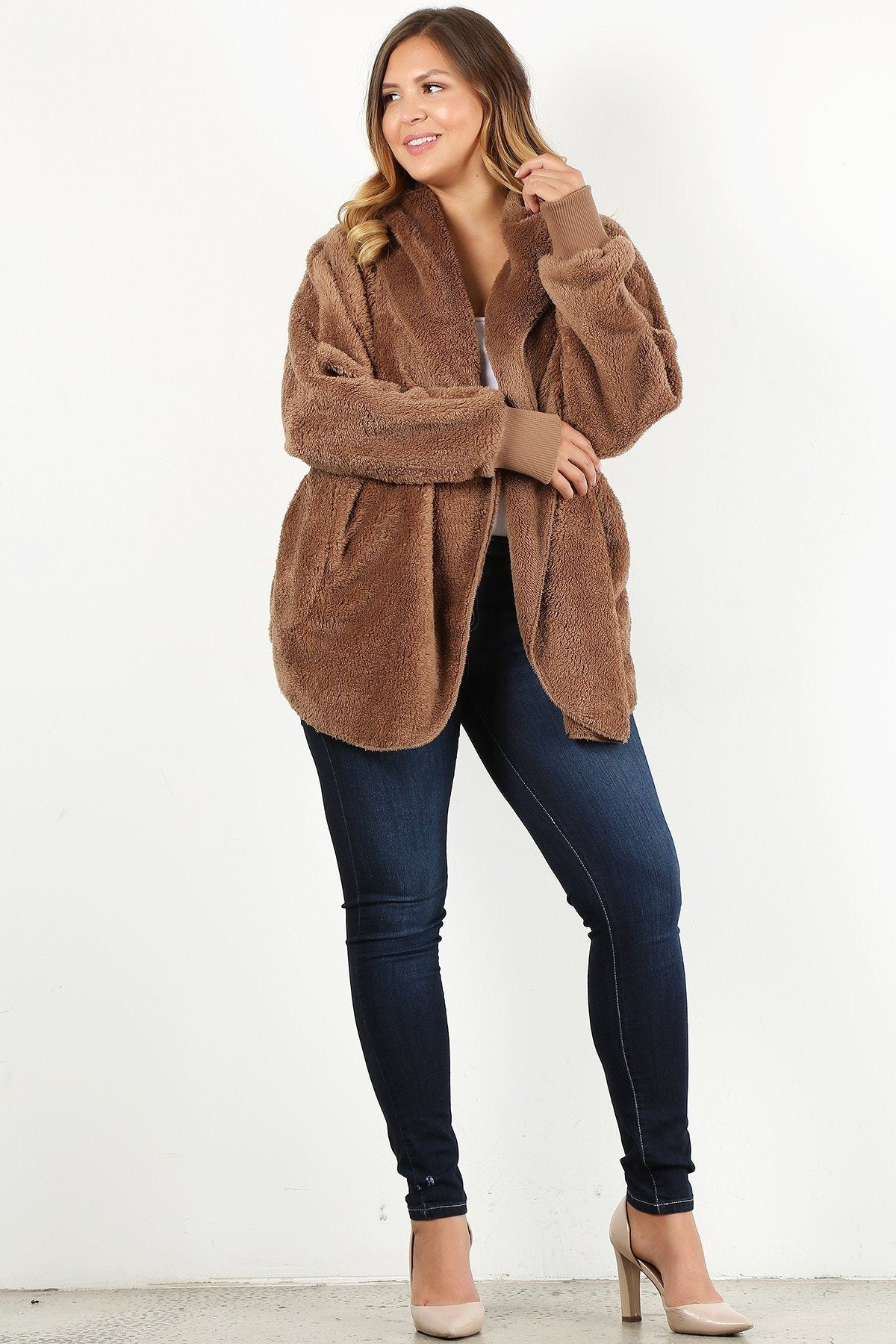 Plus Size Faux Fur Hip Length Jacket - CYFASHION