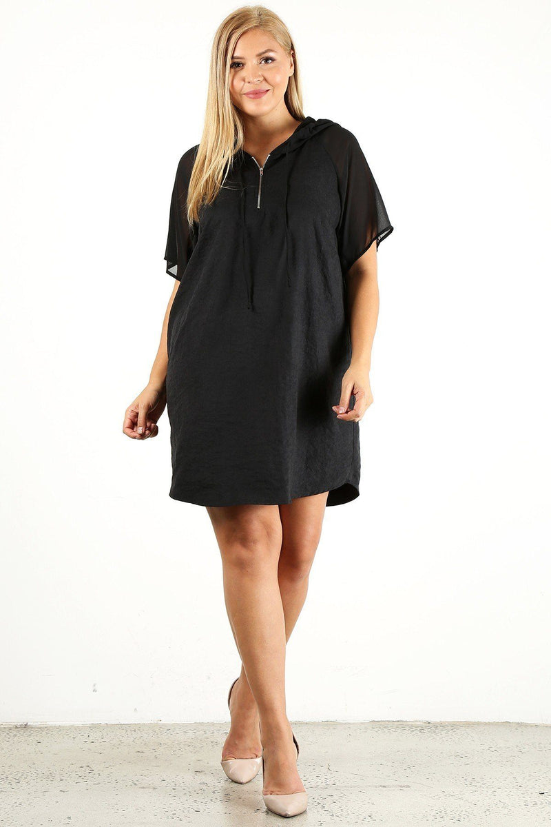 Plus Size Solid Dress With Zip-up Closure - CYFASHION