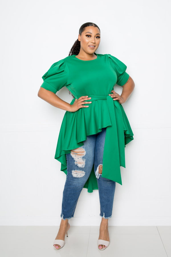 Hi-lo Peplum Top - CYFASHION