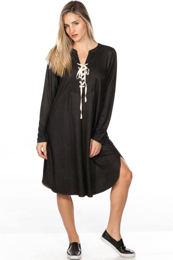 Lace Up V Neck Loose Tunic Dress - CYFASHION