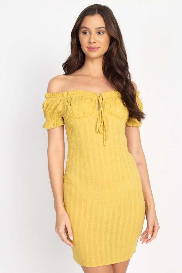 Off Shoulder Smocked Dress - CYFASHION