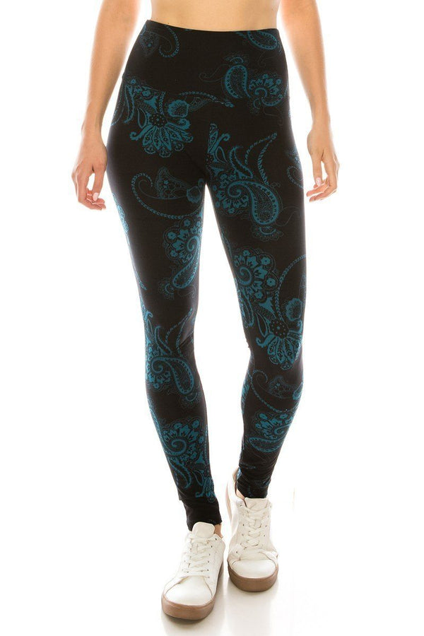 Long Yoga Style Banded Lined Multi Printed Knit Legging With High Waist. - CYFASHION
