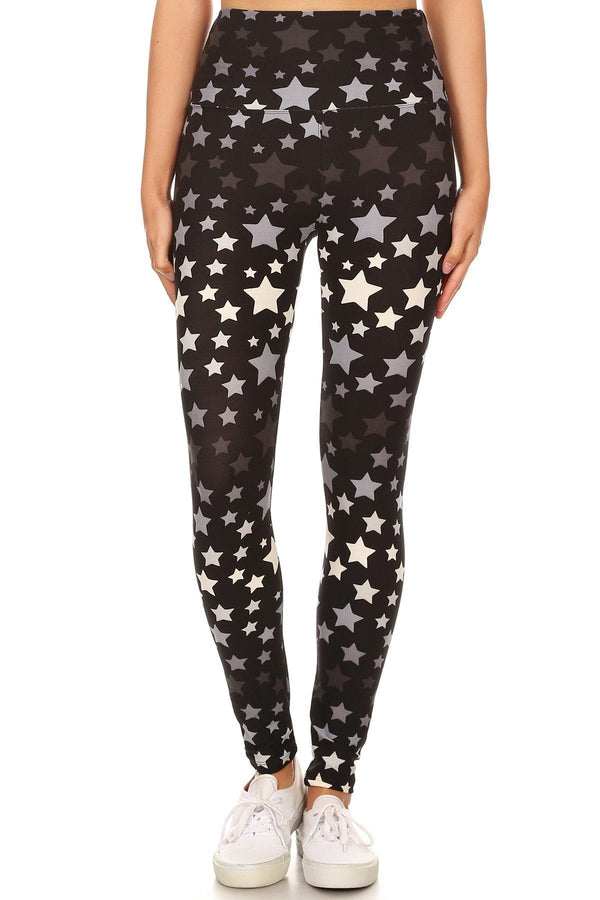 Long Yoga Style Banded Lined Stars Printed Knit Legging With High Waist. - CYFASHION