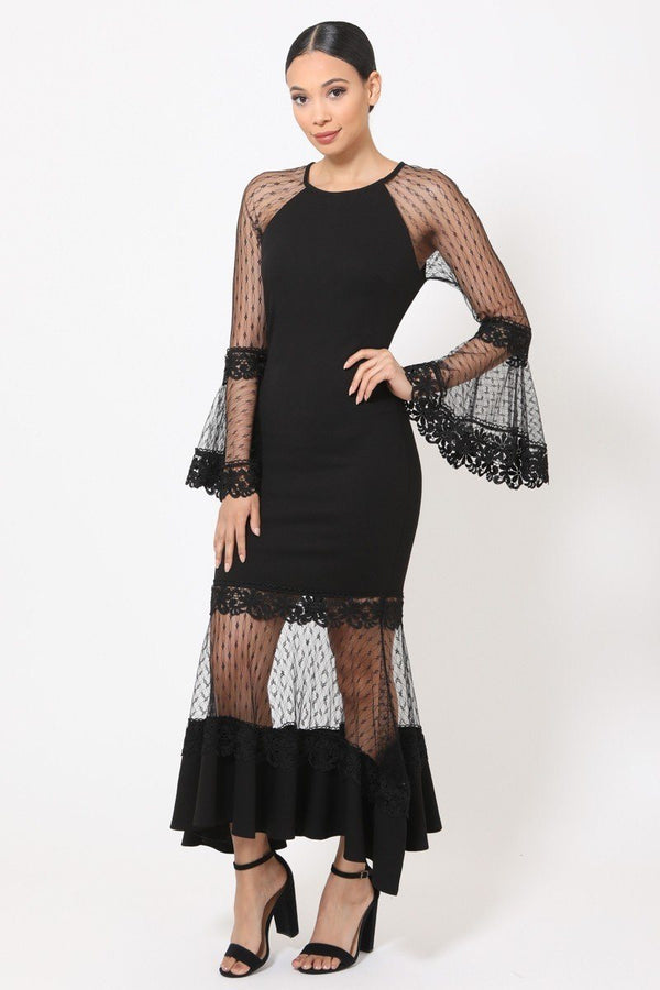 Bell Sleeve Mesh Combined Fashion Long Dress - CYFASHION
