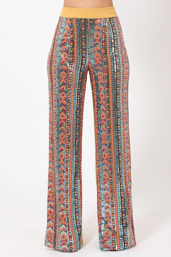 High Waist Colorful Sequins Pattern Pants - CYFASHION