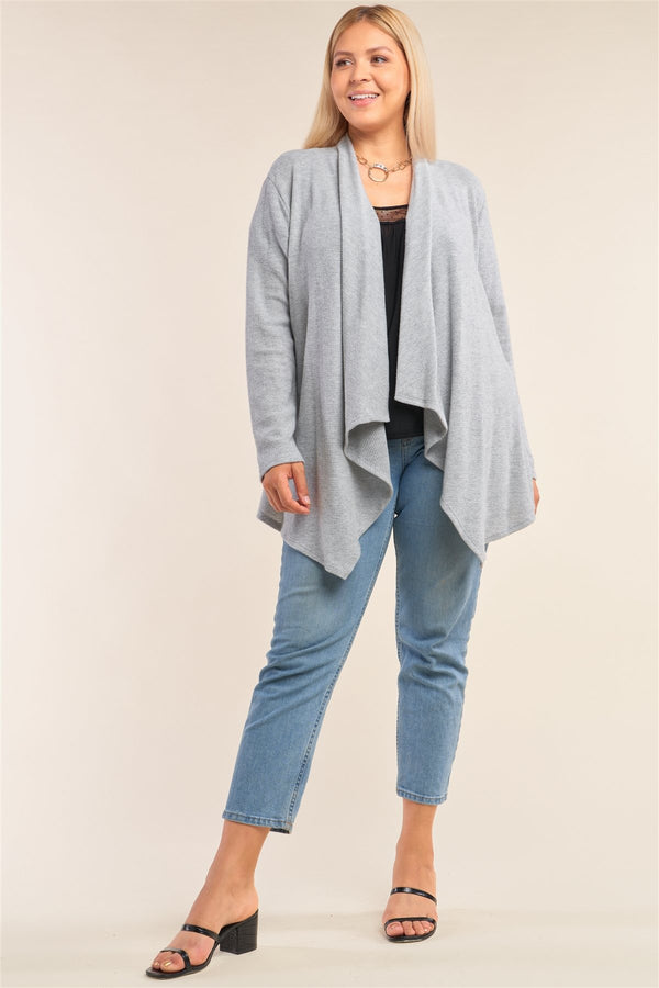 Plus Size Heather Grey Knit Open Front Long Sleeve Asymmetrical Pleated Collar Hem Cardigan - CYFASHION