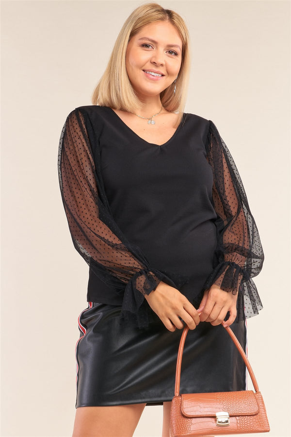 Plus Size Relaxed Fit Deep Plunge V-neck Long Polka Dot Mesh Balloon Sleeve Top - CYFASHION