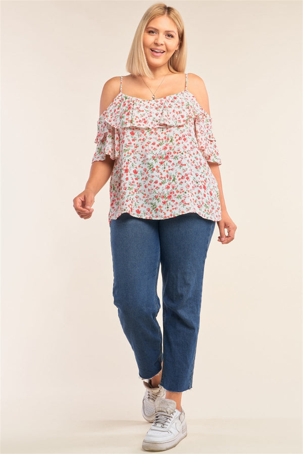 Plus Size Floral Print Relaxed Fit Mini Sleeve Off-the-shoulder Flared Hem Top - CYFASHION