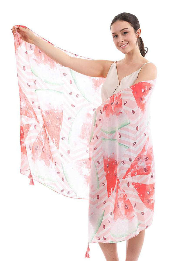 Chic Cute Watermelon Pattern Sarong Scarf With Tassle - CYFASHION