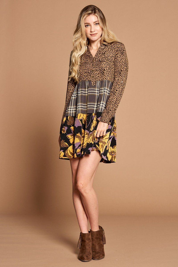 Cheetah Print Button-down Collard Shirt Dress - CYFASHION
