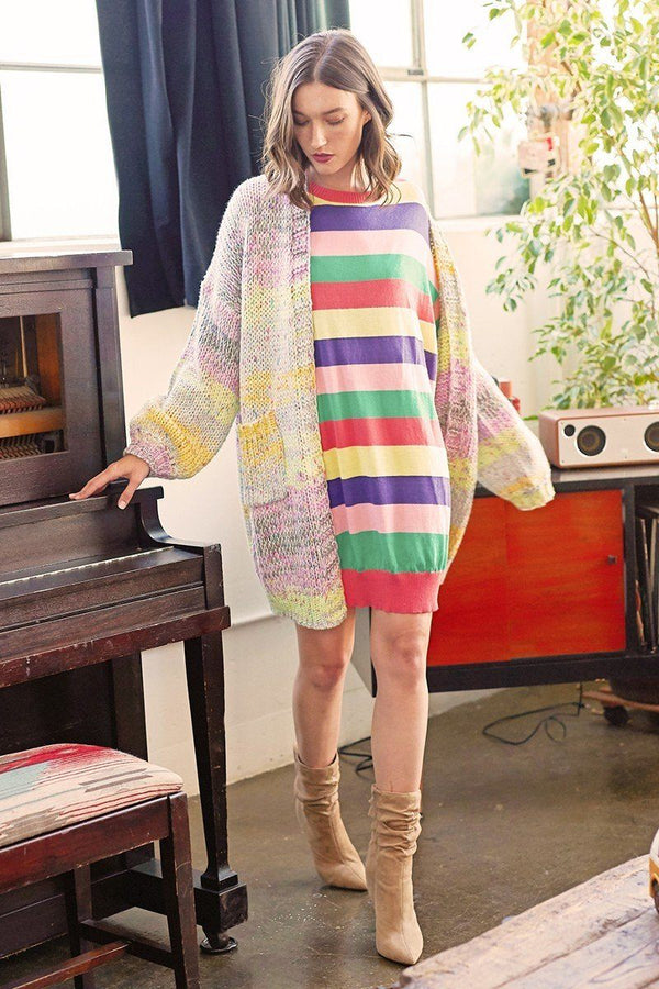 Multi-colored Striped Knit Sweater Dress - CYFASHION