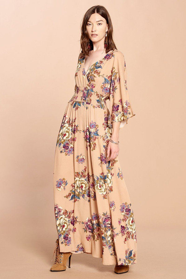 Floral Print Maxi Wrap Dress - CYFASHION