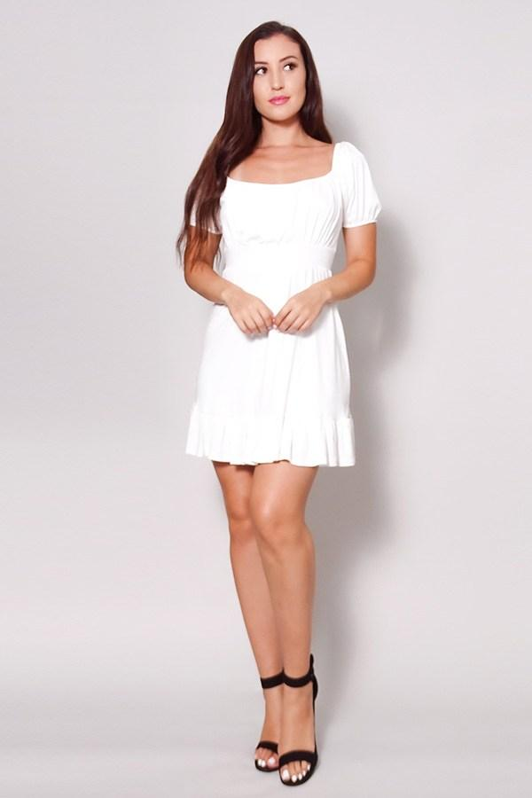 Puff Short Sleeve Tie Back Easy Summer Mini Dress - CYFASHION
