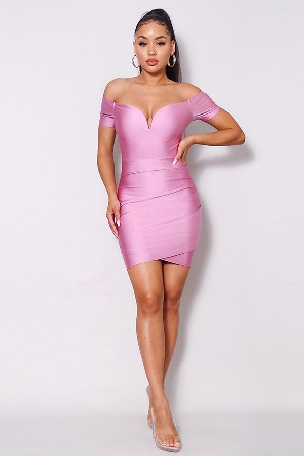 Off Shoulder V Front Gathered Bodycon Mini Dress - CYFASHION