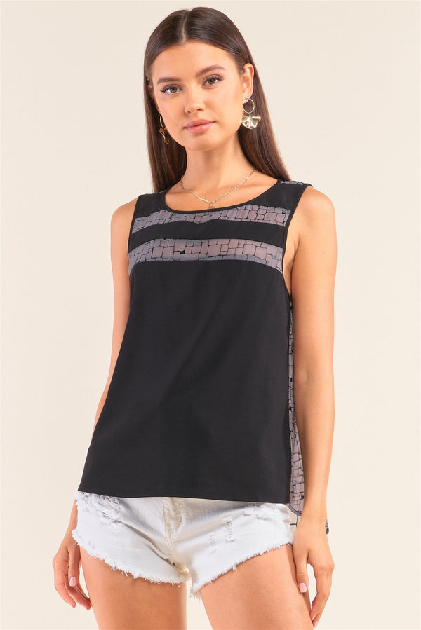 Grey And Black Sleeveless Relaxed Fit Brick Pattern Print Mesh Round Neck Top - CYFASHION