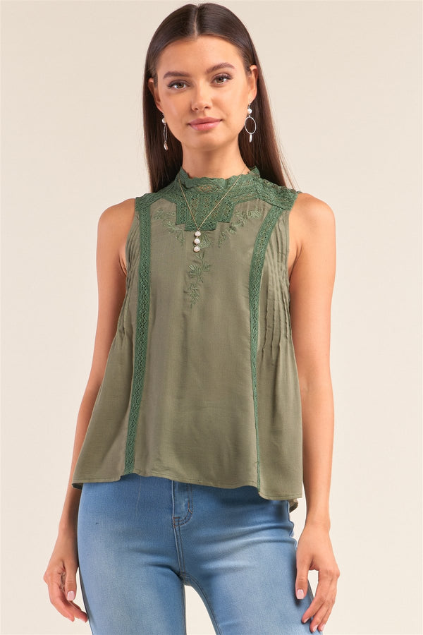 Forest Green Sleeveless Crochet Embroidered Hem Pleated Babydoll Top - CYFASHION