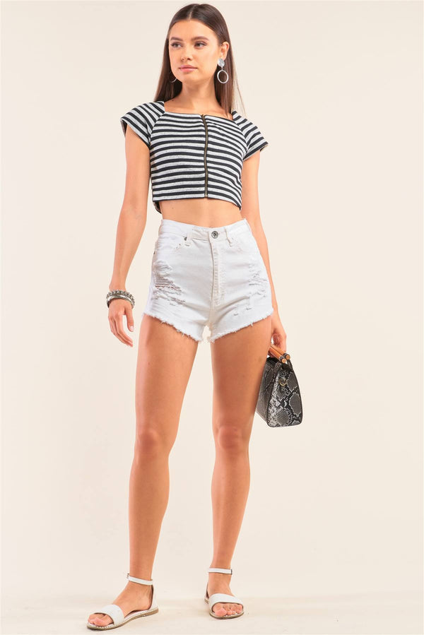 Black And Grey Striped Square Neck Mini Sleeve Cropped Top - CYFASHION