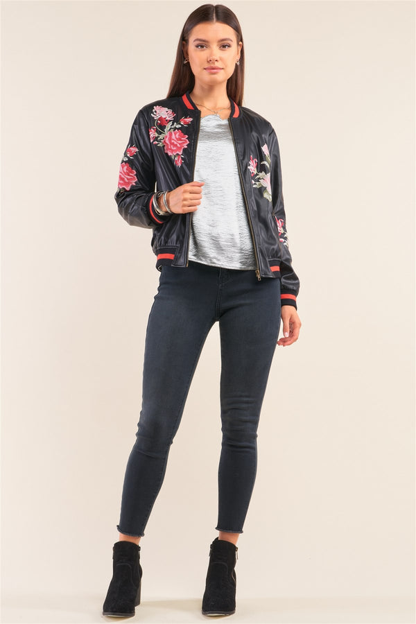 Rosa Black Vegan Leather Floral Embroidery Striped Hem Bomber Jacket - CYFASHION
