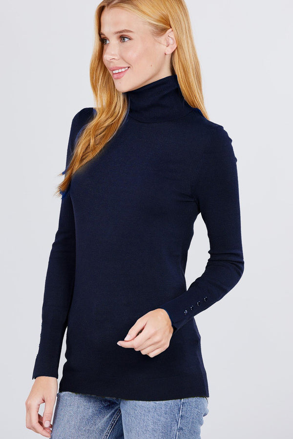 Long Sleeve With Metal Button Detail Turtle Neck Viscose Sweater - CYFASHION