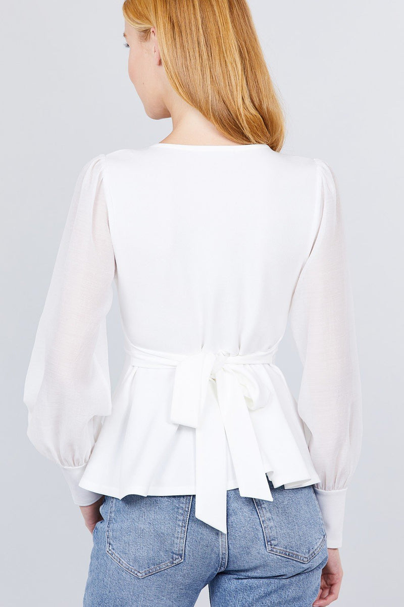 Puff Sleeve V-neck Peplum Top - CYFASHION