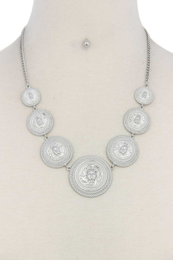 Lion Head Circle Linked Necklace - CYFASHION