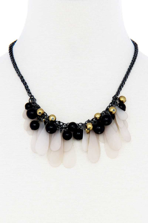 Black And Gold Balls With Tassel Statement Necklace - CYFASHION