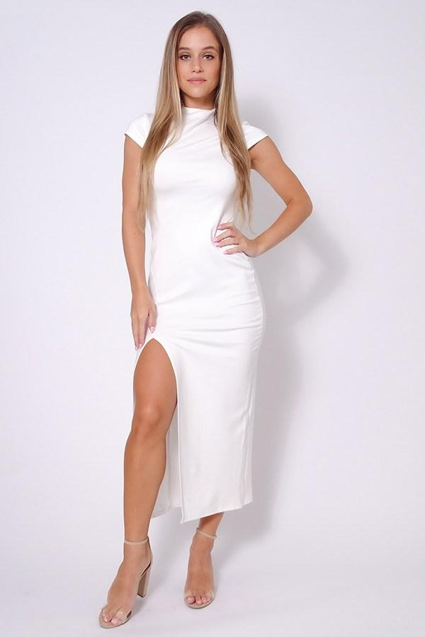 High Neck Cap Sleeve Slitted Basic Midi Dress - CYFASHION