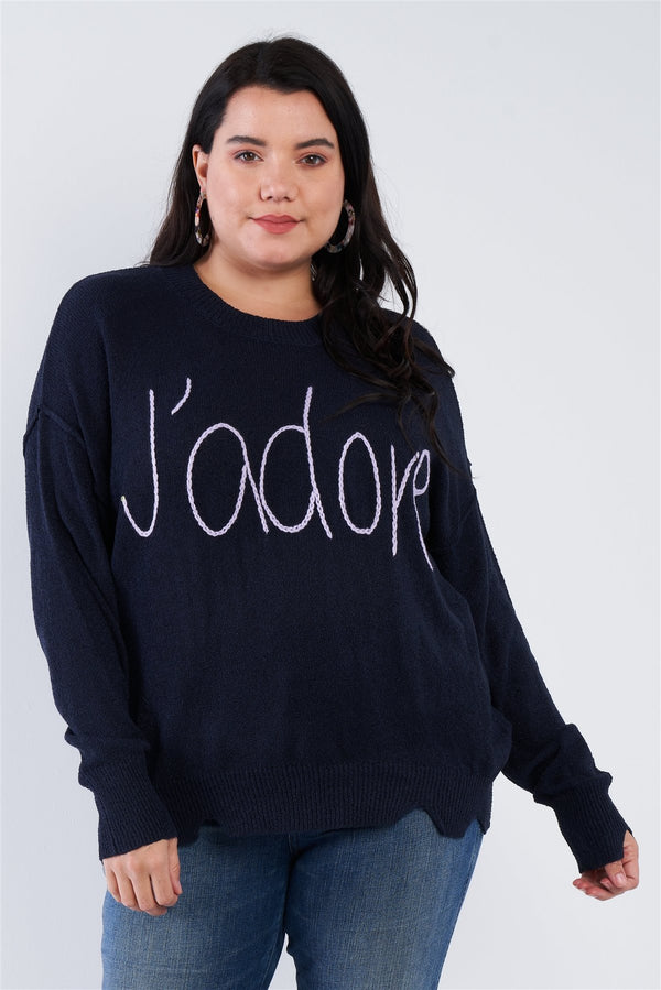 "Plus Size ""jadore"" Script Knit Relaxed Fit Sweater - CYFASHION"