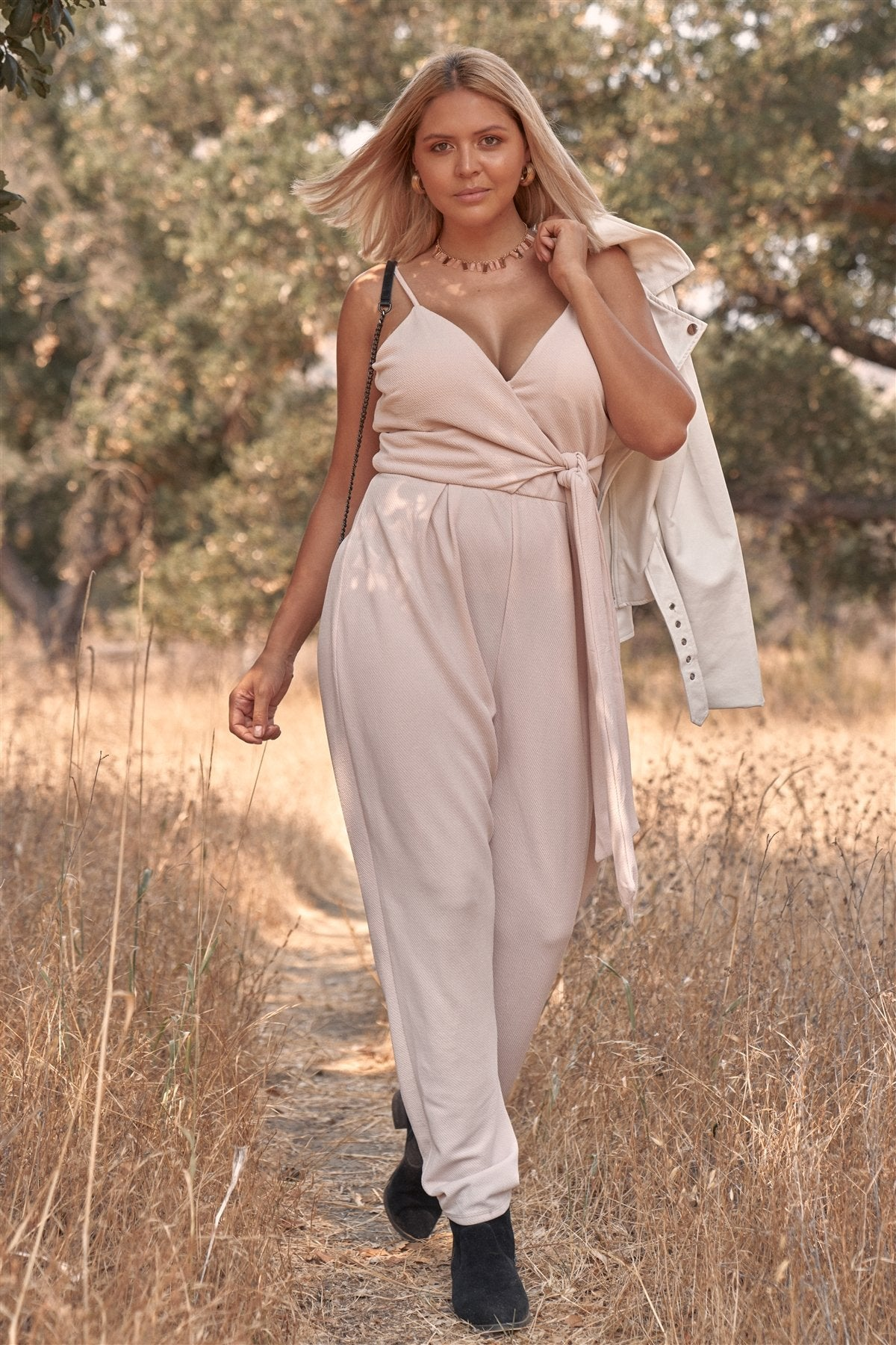 Plus Size Stone Blush Pink Sleeveless Self-tie Wrap Detail Deep Plunge V-neck Jumpsuit - CYFASHION
