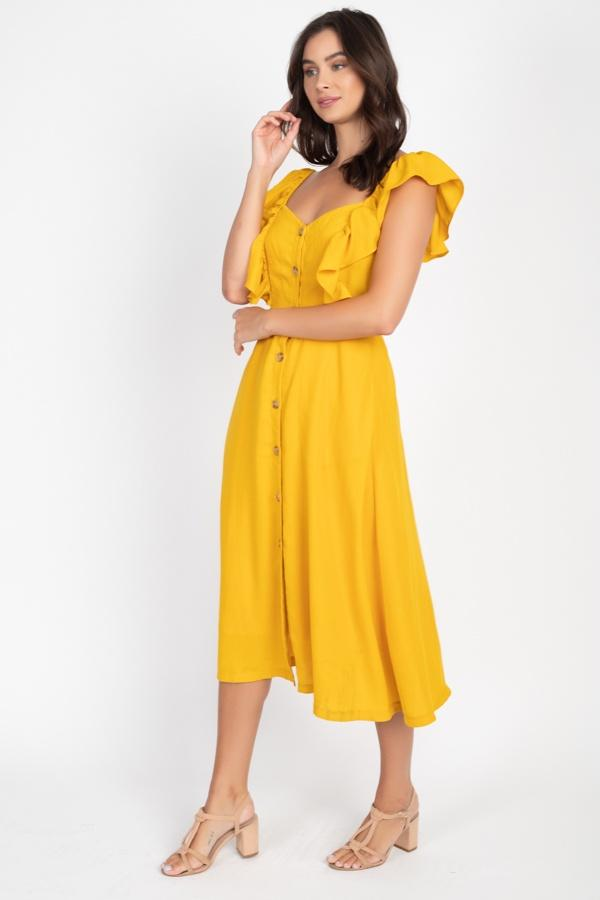 Button Front Ruffle Midi Dress - CYFASHION