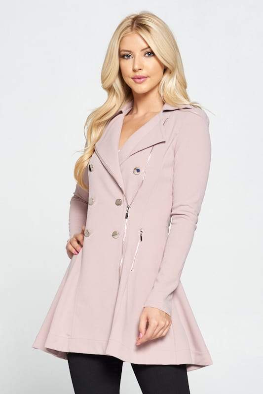 Double Breasted Flare Blazer Dress - CYFASHION
