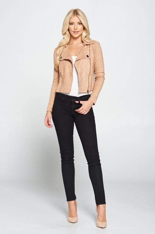 Faux Suede Moto Leather Jacket - CYFASHION