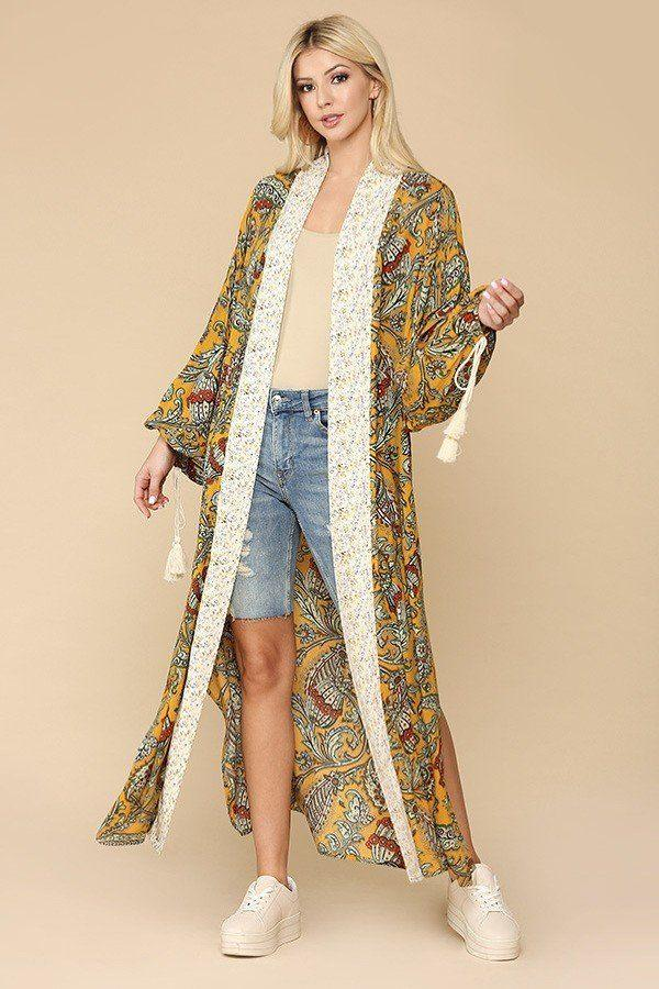 Mix-printed Open Front Kimono With Side Slits - CYFASHION
