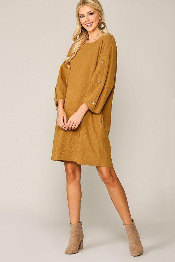 Textured Button Accent Puff Sleeve Side Pockets Shift Dress - CYFASHION