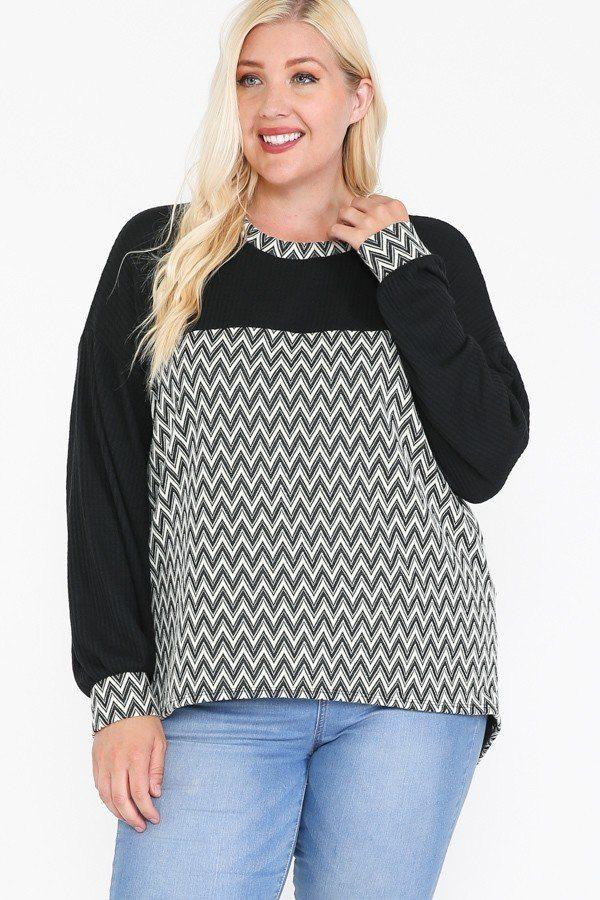 Jacquard Contrast With Drop Shoulder Long Sleeve Round Hem Top - CYFASHION