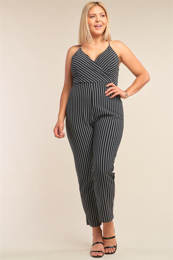 Plus Size Black & White Striped Wrap Sleeveless Criss-cross Strap Deep Plunge V-neck Jumpsuit - CYFASHION