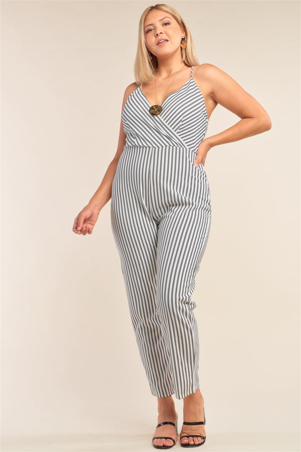 Plus Size Black&white Striped Wrap Sleeveless Criss-cross Strap Deep Plunge V-neck Jumpsuit - CYFASHION