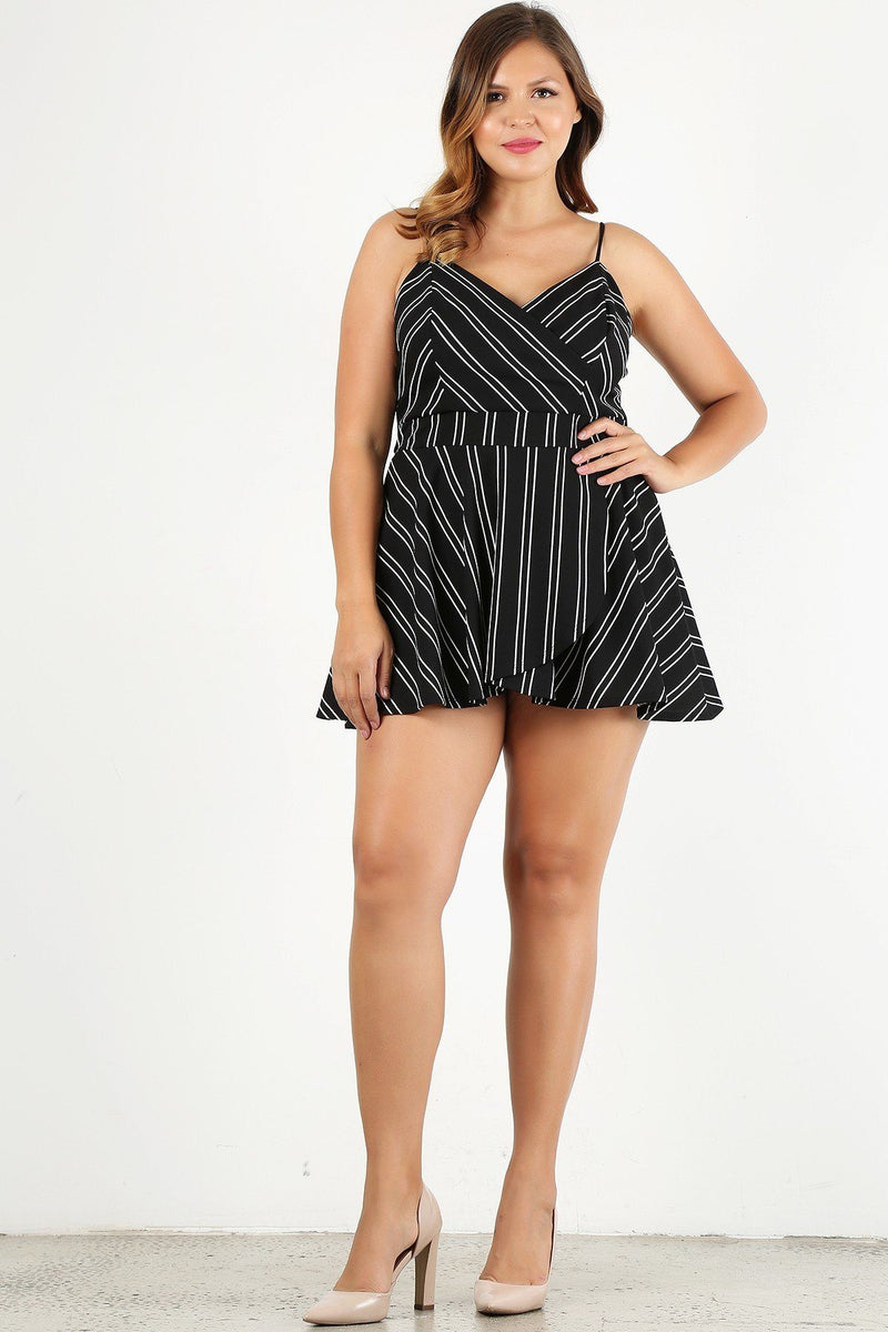 plus Size Striped, Sleeveless Romper - CYFASHION