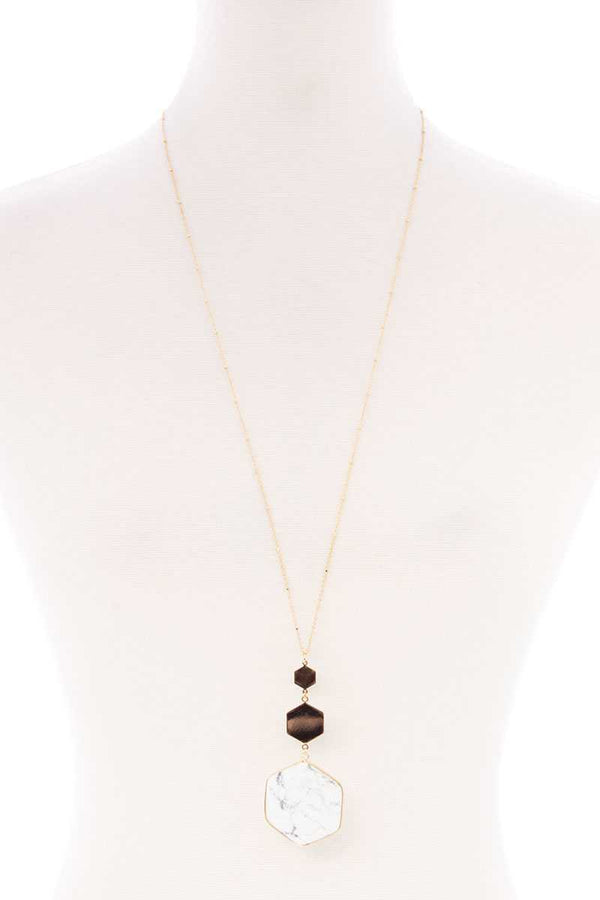 Marbling Natural Stone Pendant Long Necklace - CYFASHION