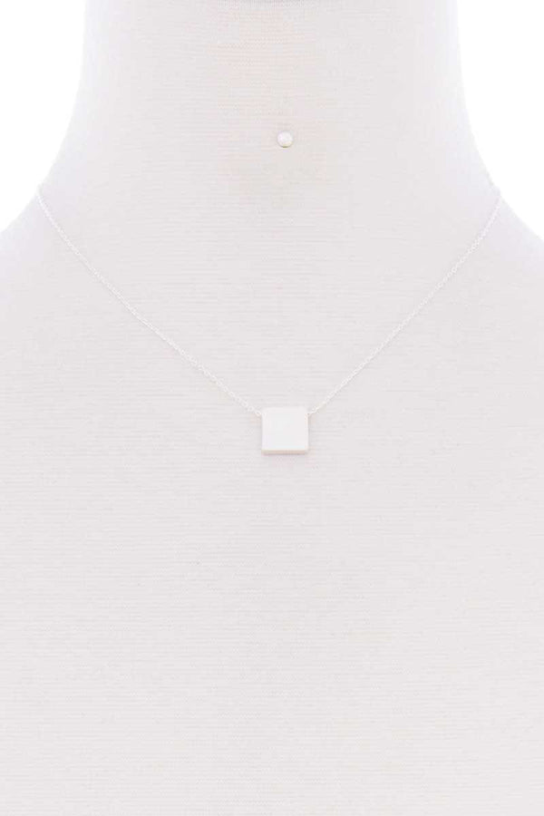Square Pendant Dainty Necklace