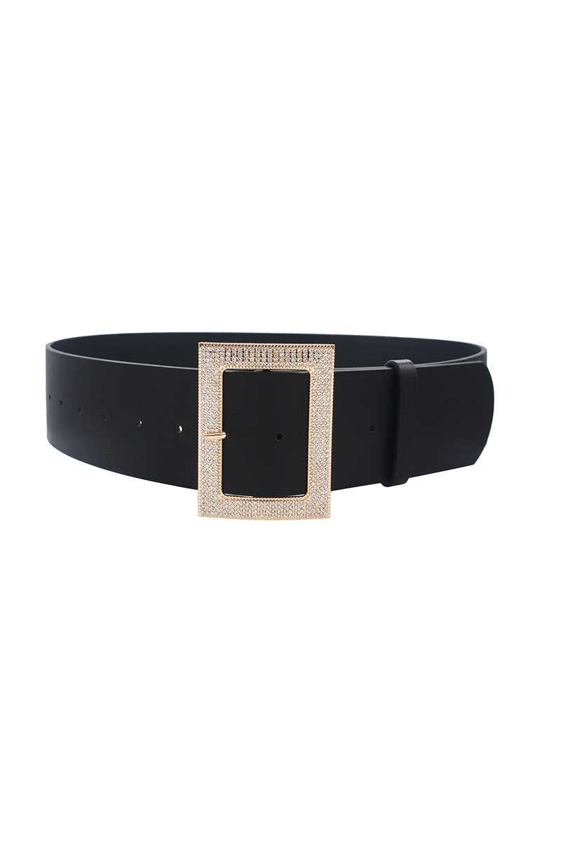 Rectangle Rhinestone Buckle Belt