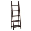 5 Tier Wooden Leaning Shelf with Open Back, Dark Brown - BM229264