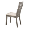 Wooden Side Chair with Slatted Design Backrest, Set of 2, Gray
