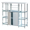 6 Glass Shelf Metal Frame Bar Cabinet with Power Outlet, Clear and Chrome
